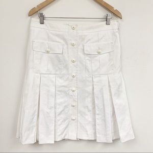 Wolford white pleated front buttons skirt Sz 8